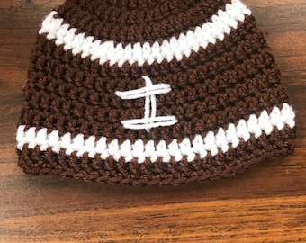 Football crochet hat-toddler size