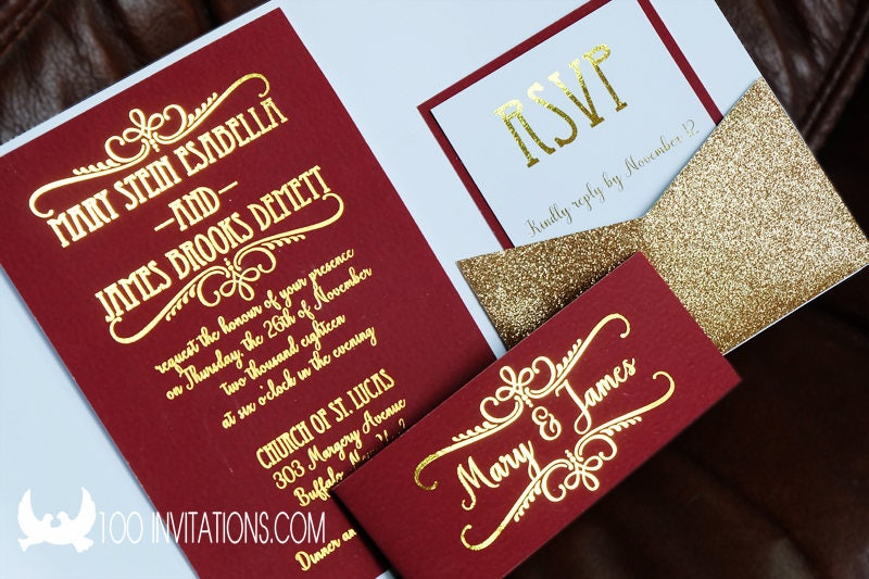 Burgundy And Gold Wedding Invitations: Glitter Wedding Invitations Burgundy And Gold Wedding