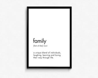 Affiche Scandinave, Print Definition, Family Sign, Family Definition Printable, Definition Poster, Family Definition Print, Dictionary Art