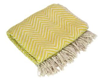 Yellow Chevron Throw, Cotton Throw Blanket, Cotton Throw, Throw Blanket, Throw, Woven Throw, Decorative Throw, Bohemian Throw, Chevron