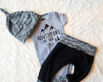 NB-18M Adventure outfit, Baby Boy outfit,3 piece set, Baby joggers, Black onesie, hat,