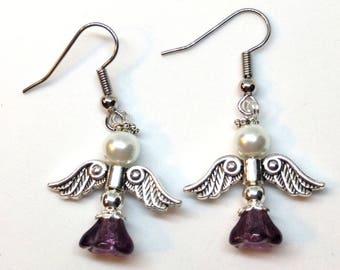 Angel Earrings, Angel 3 Earrings Amethyst, Christmas Earrings