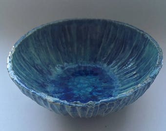 Decorative Blue Bowl , Hand Carved Dish,  Organic Pottery, Ceramic Decor, Artist Gifts, Pottery Presents, Anniversary gift,