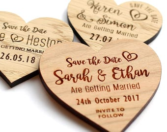Wooden Save The Date Evening Magnets Custom Rustic Heart Wedding Invitation