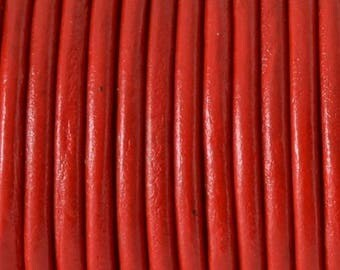 Leather cord red 4mm by 20cm