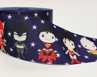 "3"" inch Super Hero on Navy Blue with Stars- Printed Grosgrain Ribbon for 3 inch Cheer Hair Bow"