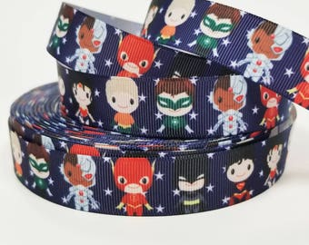 "7/8 "" inch Super Hero Team on Navy with Stars - Printed Grosgrain Ribbon for 7/8 inch  Hair Bow"