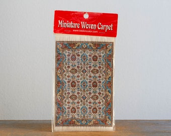 Vintage Miniature Turkish Woven Carpet with Fringe - Dollhouse Accessory - New Old Stock