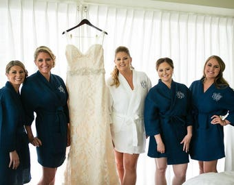 Bridesmaid Robes,  Personalized Gift - Monogrammed Short Waffle Weave Robes for Wedding Party Bridesmaid Gifts