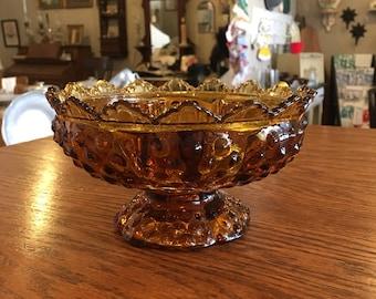 Fenton Hobnob Amber Candle Bowl