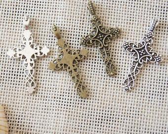 Retro crosses charm pendant,20x38mm Pendant, Antique Bronze Supplies,Antique Silver Supplies,DIY Supplies