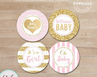 50% OFF SALE Baby Shower Pink and Gold Cupcake toppers, Gold Glittler Cake Toppers, Decorations, Printable, Chevron, Stripes Intant Download