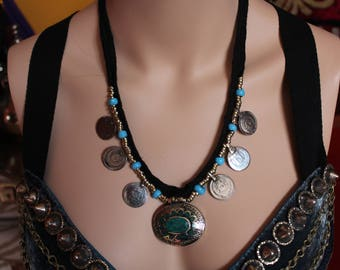 Tribal Necklace with Kuchi-Pendant and Tribal Coins, Vintage Black Cord Necklace, Hippie-, Boho-, Gypsy-Necklace, Tribal Fusion Necklace