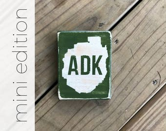 MINI ADK in Adirondack Park Silhouette sign - Adirondacks - ADKS - Cabin Decor - Mountains - Adirondack Park - Lodge Decor - Cabin Decor