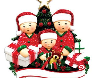 Personalized Opening Presents Family of 3 Ornament