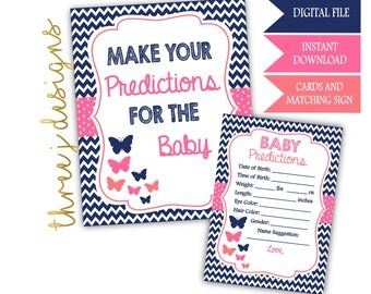 Butterfly Baby Shower Predictions for Baby Cards and Sign - INSTANT DOWNLOAD - Navy Blue, Pink and Coral - Digital File - J003