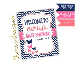 Butterfly Baby Shower Personalized Welcome Sign - Navy Blue, Pink and Coral - Digital File - J003