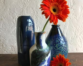 Instant Collection Trio of Blue Studio Pottery Vases