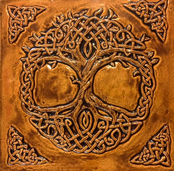 Tree Of Life Fireplace Surround: Ceramic 12 Celtic Tree Of Life With Burnt Sienna Glaze