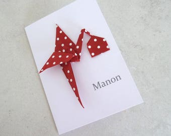 Origami birth - announcement card double paper yard Stork origami red with white polka dots in Nepalese paper