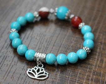 Gemstone bracelet, blue fossil stone, agate, lotus charm