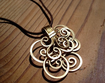 Necklace bouquet of spiral brass