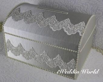 wedding card box/ivory card box/memory box/treasure chest money box/wedding card box/ivory wedding card box