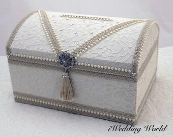 wedding card box, Memory Box, wedding card holder, money box wedding, lace card box, ivory card box, vintage wedding