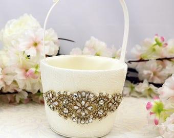 Flower Girl Basket, Gold and Ivory Flower Girls Basket, Gold Wedding Basket, Ivory flower Girl basket, wedding ideas,