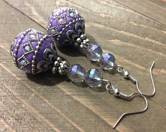 Purple Earrings, Glass Earrings