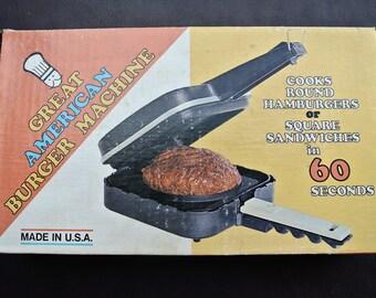 Burger Maker, Great American Burger Machine, Retro Appliance, Sandwich Grill, Original Box, Retro Burger Maker