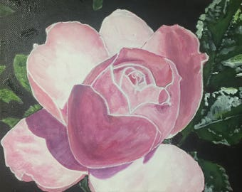 "Rose, 10""x10"", original acrylic painting on wrapped canvas"