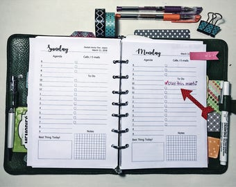 DO1P, 12 Months, Jan - Dec 2018, Dated, Daily, Planner Pages, A5, LTR, Day on 1 page, Calendar, Planner Inserts, half-page, (Agenda)