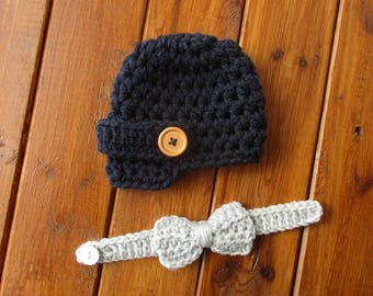 Boy Newsboy Hat Crochet Newsboy Hat Newborn Newsboy Hat Baby Boy Hat Newborn Boy Photo Props Navy Baby Newsboy Hat Baby Boy Newsboy Hat