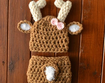 Crochet Baby Deer Outfit, Baby Deer Outfit, Baby Deer Hat With Diaper Cover Set, Deer Outfit For Baby Girl Or Boy, Brown Baby Deer Outfit