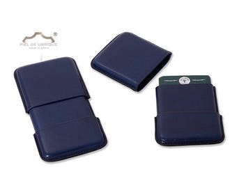 Blue Leather Card Holder, business card holder leather blue