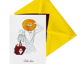 Folded birth card, Daffodil yellow envelope.