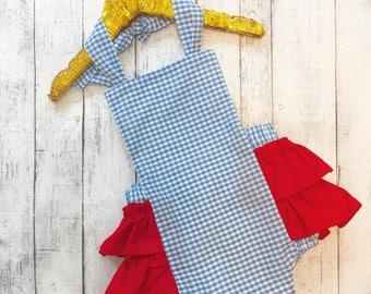Little Girls Dorothy Costume- Halloween costume, gingham romper, Dorothy birthday romper, birthday outfit
