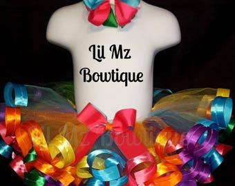 Rainbow theme ribbon trim tutu with matching hair bow clip, Rainbow ribbon trim tutu, ribbon trim tutu, rainbow tutu, tutu skirt