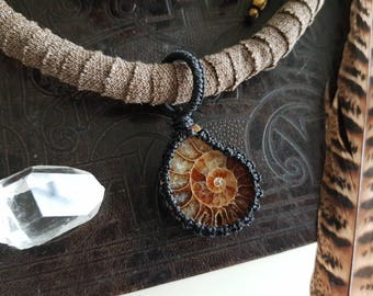 Tribal Ammonite necklace with sandalwood and lava stone