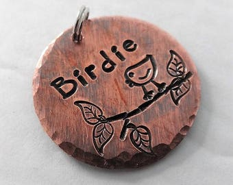 """Dog Tag - Birdie Pet ID Tag - Girl Pet ID Tag with Bird - 1"""" Round Antiqued Copper Dog Name Tag -  Pet ID Tag - Hand Stamped Copper Dog Tag"""