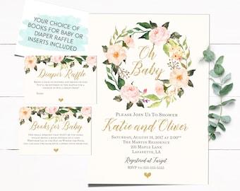 Baby Shower Invitation, Boho Baby Shower Invitation, Baby Shower Invitation, Baby Invitation, Floral Baby Shower Invitation