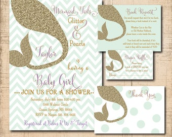 Mermaid Baby Shower Invitation with matching Book Request, Diaper Raffle Ticket and Thank you Note/DIGITAL FILES/printable
