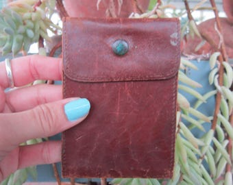 Leather Wallet Vintage 1940's Soft Leather Bill Card Holder Snap Accessory Collectible