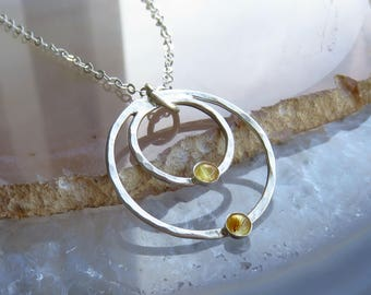 Handmade sterling silver necklace - Yellow quartz silver necklace -- Gemstone jewelry