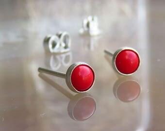 Red Coral Stud Earrings, Coral Post Earrings, Red Stud Earrings, Red Ear Posts, Tiny Stud Earrings
