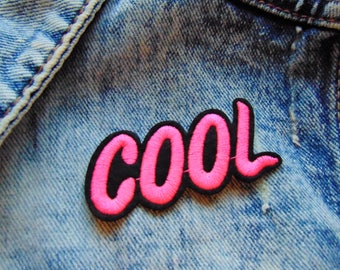 COOL Pink and Black Sew / Iron on Embroidery Patch Modern Fashion Badges for Jeans TShirts Custom Clothing UK New Ready to use with Adhesive