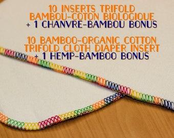 10 trifold diaper insert kit + 1 BONUS hemp-bambou trifold / Cloth diaper insert / trifold insert /  bamboo cloth diaper insert