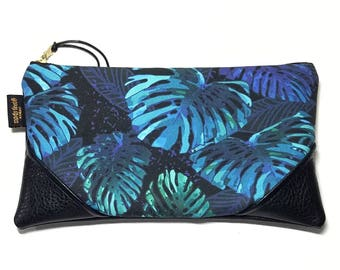 Large Midnight Monstera Zipper Pouch / Clutch with inside lining and Zipper Pull or Leather Wrist Strap