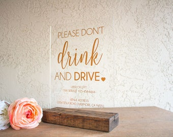 Don't Drink and Drive Wedding Sign - Wedding Taxi Sign - Uber Wedding Sign - Wedding Information Sign - Don't Drink and Drive Event Sign